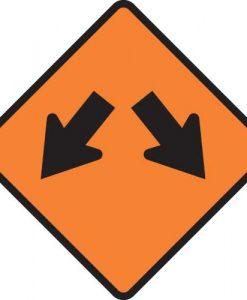 lane diverge signs