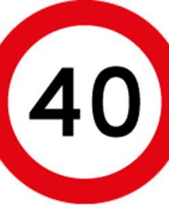 40KM Speed Limit Signs