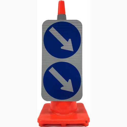 Double Arrow keep right sign cone