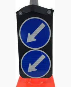 double arrow left cone sign