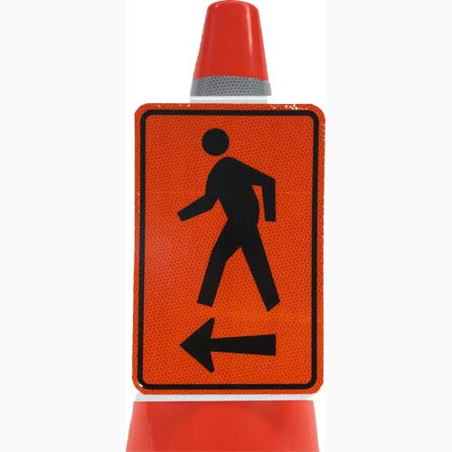 Pedestrian left arrow cone sign