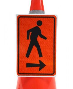 Pedestrian right arrow cone sign